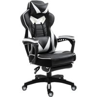 Vinsetto Racing Gaming Chair Adjustable Height Recliner with Wheels, Headrest,Lumbar Support Retractable Footrest Home Office,White