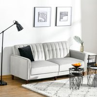 HOMCOM Convertible Sofa Futon Velvet-Touch Tufted Couch Compact Loveseat Sleeper Sofa Bed with Adjustable Split Back, Light Grey