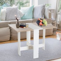 HOMCOM Drop Leaf Table Particle Board Wooden Folding Dining Writing Computer Desk Space Saving-Oak White