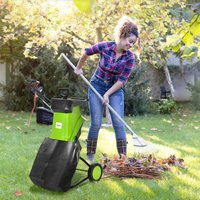 Outsunny 2500W Electric Garden Shredder Wood Chipper Lightweight and Compact Branch Shredder w/ 50L Collecting Bag, Overload Protection, Two Wheels