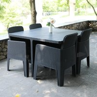 Outsunny 5 PCS Patio PP Rattan Garden Dining Cube Set Outdoor Chair Furniture Set Grey