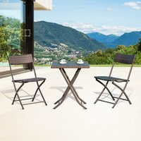 Outsunny Rattan Bistro Set: 1 x table, 2 x chairs-Brown