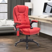 HOMCOM PU Leather Office W/Massage Function, High Back-Red