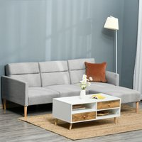 HOMCOM Upholstered Sofa bed Reversible Sectional Sofa Set linen-Touch Sleeper Futon with Footstool, Light Grey