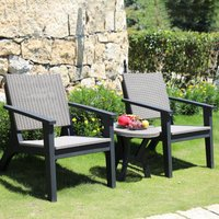 Outsunny 3 Pieces PP Rattan Coffee Set Bistro Furniture Arm Chair Table Set for Patio Porch