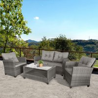 Outsunny 4 PCS Outdoor Patio Furniture Sets All Weather PE Rattan Chair set Indoor Outdoor Backyard Garden Coffee Table with Cushions Grey
