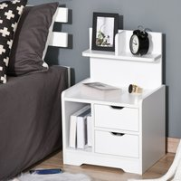 HOMCOM Bedside Table with 2 Drawers and Storage Shelves for Living Room Bedroom Accent Table Small Cabinet, White