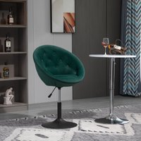 HOMCOM Dining Height Bar Stool Velvet-Touch Tufted Fabric Adjustable Height Armless Counter Chairs with Swivel Seat, Green