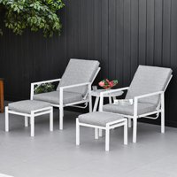 Outsunny 5-Piece Garden Reclining Chair Set Patio Furniture Set with Ottomans Coffee Table Cushions, 3-Position Adjustable Backrest, Aluminium Frame