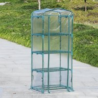 Outsunny 4 Tiers Mini Portable Greenhouse Plant Grow Shed Metal Frame Transparent Clear Cover 160H x 70L x 50Wcm