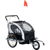 HOMCOM 2 in 1 Child Bike Carrier, 2-Seater-Grey