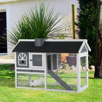 PawHut Rabbit Hutch Wood Bunny Cage for Outdoor Indoor with Pull Out Tray Run Box Ramp Asphalt Roof for Small Animals Grey