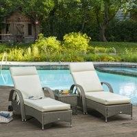 Outsunny Set of 2 Sun Lounger Cushion Non-Slip Seat Pads Garden Patio Reclining Chair for Indoor Outdoor, 196 x 55cm, Cream White