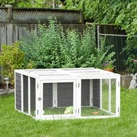 PawHut Rabbit Hutch Small Animal Guinea Pig House Ferret Bunny Cage Duck House Rabbit Hideaway Chinchilla Cage Outdoor Indoor with Openable Roof Grey