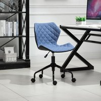 HOMCOM Home Office Swivel Computer Desk Chair With Nylon Wheels Adjustable Height Linen Blue