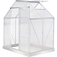 Outsunny 4x6FT Walk-In Greenhouse Polycarbonate Panels Aluminium Frame Sliding Door Adjustable Window Flower Grow House Protection