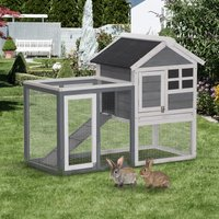 PawHut 122cm Weather-proof Wooden Rabbit Hutch With Slant Roof And Screened Outdoor Run, Grey