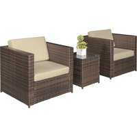 Outsunny 3 Pcs Rattan Sofa Furniture Set W/Cushions, Steel Frame-Brown