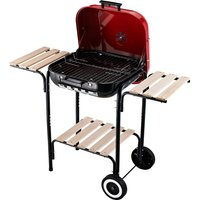 Outsunny Charcoal Steel Grill Portable BBQ Camping Picnic Garden Party w/ Wheels Red