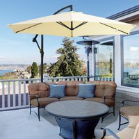 Outsunny 3 Meters Garden Parasol Sun Shade Patio Banana Hanging Rattan Set Umbrella Cantilever w/ Weight and Cover Beige