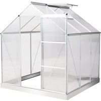 Outsunny 6x6ft Walk-In Greenhouse Polycarbonate Panels Aluminium Frame Sliding Door Adjustable Window 3.6㎡ Inner Area Grow House