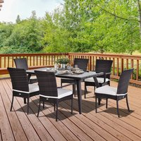 Outsunny Brown Rattan Garden Furniture Dining 7 pcs Set 6 Wicker Weave Chairs and Tempered Glass Top Table Seater W/ Cushion