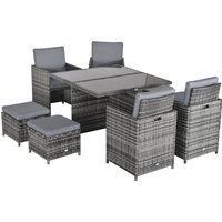 Outsunny 9PC Rattan Garden Furniture Set 8-seater Wicker Outdoor Dining Set Chairs + Footrest + Table Thick Cushion - Grey