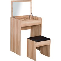 Dressing Table Set with Mirror & StoolWood Grain Colour