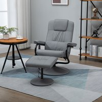 HOMCOM Manual Sofa Reclining Armchair PU Leather Massage Recliner Chair and Ottoman with Heating Function, Grey