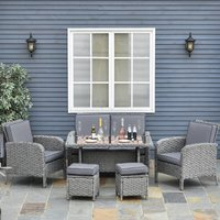 Outsunny 6 PCS Outdoor Patio Rattan Dining Table Sets All Weather PE Wicker Sofa Furniture Set for Backyard Garden w/ Cushions Grey