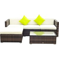 Outsunny 5 PCS Rattan Sofa Set-Brown