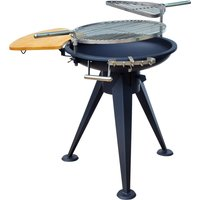 Outsunny Round BBQ Grill W/Cutting Board-Black