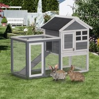 PawHut 2 Tier Wooden Rabbit Hutch Guinea Pig Cage Rabbit Cage Pull Out Tray W/ Ramp 122 x 62.6 x 92 cm