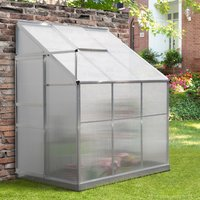 Outsunny Walk-In Garden Greenhouse Heavy Duty Aluminum Polycarbonate with Roof Vent Lean to Design for Plants Herbs Vegetables 192 x 125 x 221 cm