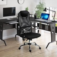Vinsetto High-Back Office Chair Mesh Fabric Swivel Computer Desk Chair Home Study Rocker with Wheels, Electroplate Steel Frame, Black