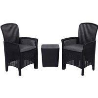 Outsunny 3-Piece Outdoor Garden Rattan Bistro Set Black