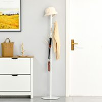 HOMCOM 174cm Free Standing Coat Rack Stand with 6 Hooks Clothes Tree Hat Display Hall Tree Hanger Hanging Organizer for Bedroom Living Room White