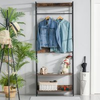 HOMCOM Coat Rack Stand Multi-functional Hall Tree Freestanding Metal Hat Clothes Organizer with Hanging Rod for Bedroom Living Room Entryway