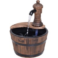 Outsunny Barrel Water Pump Fountain Rustic Wood Electric Water Feature Garden