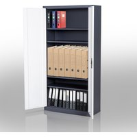 HOMCOM 1800mm High Steel Cupboard Filing Document Cabinet with Lock 5 Shelves Bookcase Metal-White/Black