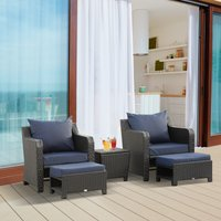 Outsunny 5pcs Outdoor Rattan Wicker Furniture Sofa Set w/ Storage Function Side Table and Ottoman for Patios, Garden, Backyard, Deep Coffee