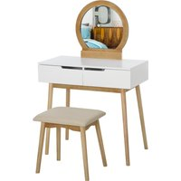 HOMCOM 2 Piece Modern Vanity Table Set, Makeup Table with Padded Stool, 2 Large Drawers, Round Mirror, Natural