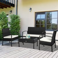 Outsunny 4Pc Rattan Garden Furniture Set Black Cream Outdoor Patio Wicker Weave Chairs Table Conservatory Seaters Bistro Set
