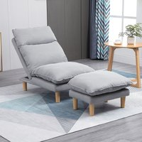 HOMCOM Adjustable Lazy Sofa Set Reclining Lounge Chair with Footstool for Living Room, Home Office, Bedroom