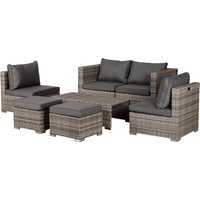 Outsunny 6-Seater Sofa and Coffee Table Rattan Outdoor Garden Furniture Set Grey