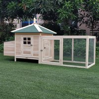 PawHut Chicken Coop Hen House Rabbit Hutch Poultry Cage Pen Outdoor Backyard with Nesting Box Run 196 x 76 x 97cm Natural