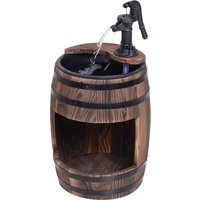 Outsunny Wood Barrel Pump Fountain Water Feature Garden Decor w/ Flower Planter