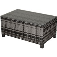 Outsunny PE Rattan Garden Coffee Table w/ Tempered Glass Top Grey