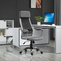 Vinsetto Office Chair Linen-Feel Mesh Fabric High Back Swivel Computer Task Desk Chair for Home with Arm, Wheels, Grey