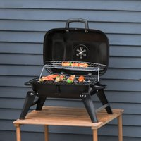 Outsunny Portable Charcoal Grill Compact BBQ Camping Picnic Garden Party Festival Air Vent